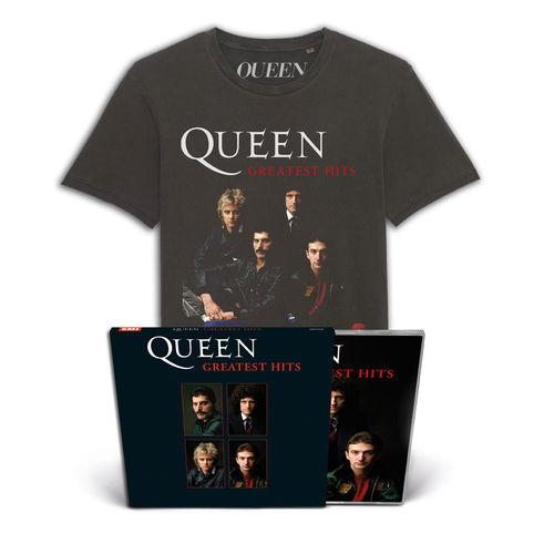 Queen: Greatest Hits Collectors Edition CD & VIntage Tee Bundle