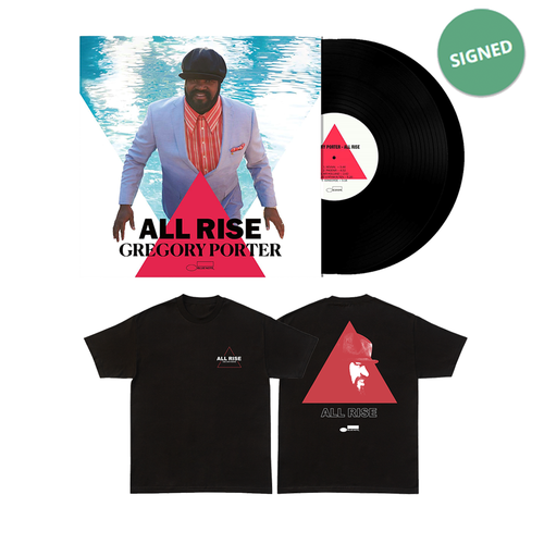 Gregory Porter: ALL RISE Signed Double LP & T-shirt Bundle