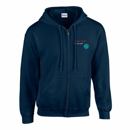Roger Taylor: Roger Taylor Fun On Earth Embroidered Zip Navy Hoodie - Small
