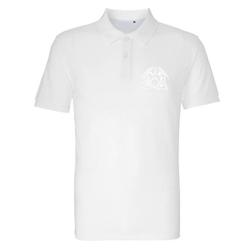 Queen: White On White Crest Embroidered Polo Shirt