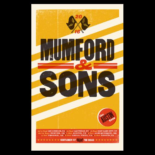 Mumford & Sons : US Tour 2016: Austin 5000 Screenprint