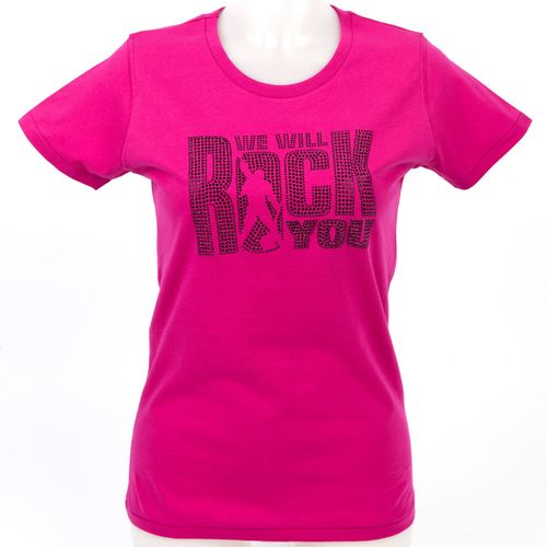 We Will Rock You: We Will Rock You Diamante Logo Raspberry Black Fitted T-Shirt - Medium