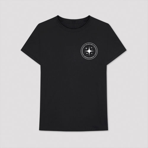 Aitch: BLACK T-SHIRT WITH CIRCLE POLARIS LOGO