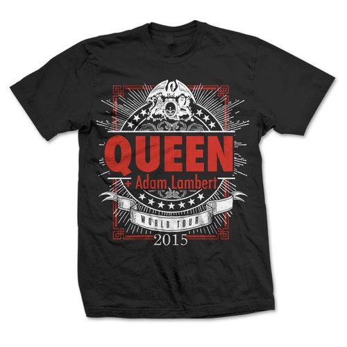 Queen + Adam Lambert: Queen + Adam Lambert Geometric Logo Black T-Shirt - Small