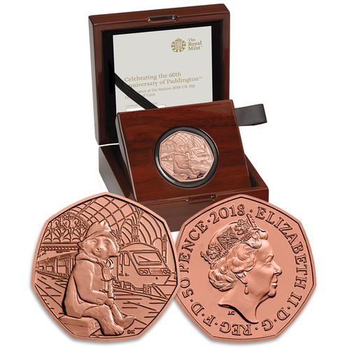 Paddington Bear: 60th Anniversary Paddington Bear at Paddington Station 2018 UK 50p Gold Proof Coin