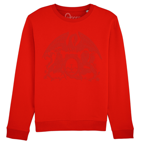 Queen: Flocked Crest Logo Red Sweatshirt