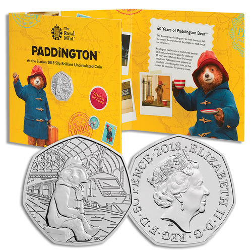 Paddington Bear: 60th Anniversary Paddington Bear at Paddington Station 2018 UK 50p BU Coin