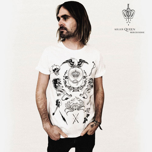 Queen: Manuela Gray Exclusive Queen Tattoo-Style Crest White T-Shirt