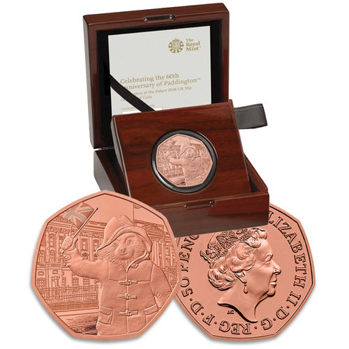 Paddington Bear: 60th Anniversary Paddington Bear at Buckingham Palace 2018 UK 50p Gold Proof Coin
