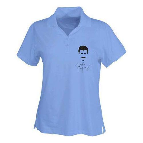 Freddie Mercury: Freddie Mercury Silhouette Logo Womens Sky Blue Polo Shirt - Medium