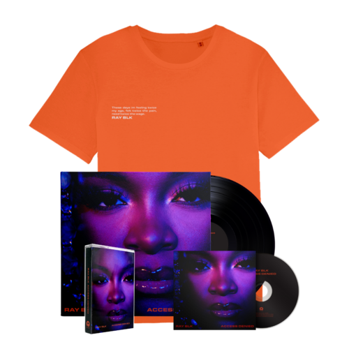 RAY BLK: Access Denied: Orange Tee, *SIGNED* CD, Vinyl + Cassette