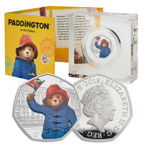 Paddington Bear: 60th Anniversary Paddington Bear at Buckingham Palace 2018 UK 50p Silver Proof Coin
