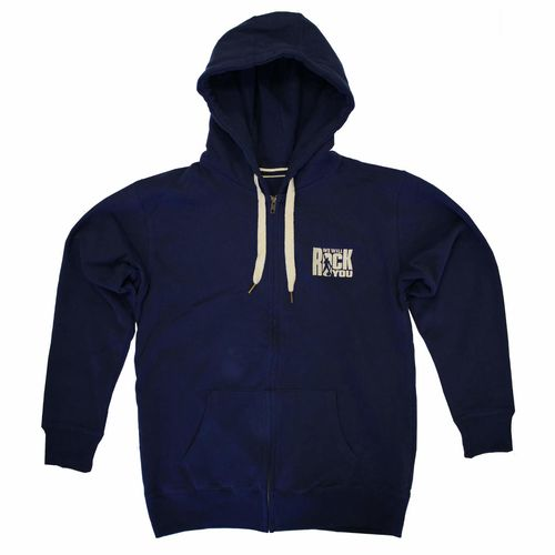 We Will Rock You: We Will Rock You Embroidered Navy Zipped Hoodie - Small