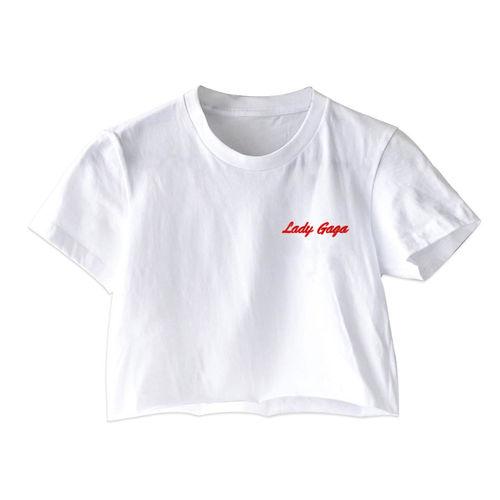 Lady Gaga: Script White Cropped T Shirt