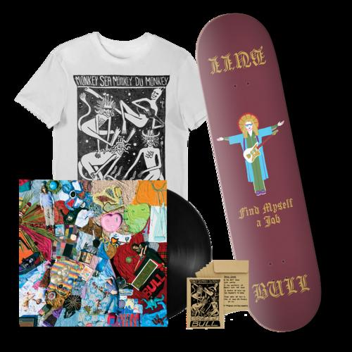 Bull: 'Find Myself A Job' Skateboard Deck + vinyl + T-shirt bundle.