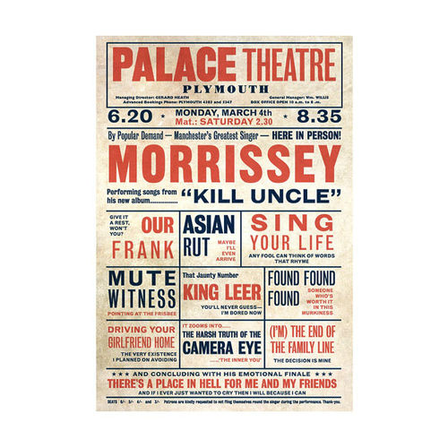 Morrissey: 'Kill Uncle' Playbill Poster Print Music Hall Vaudeville Theatre Print