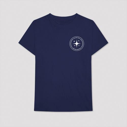 Aitch: BLUE T-SHIRT WITH CIRCLE POLARIS LOGO