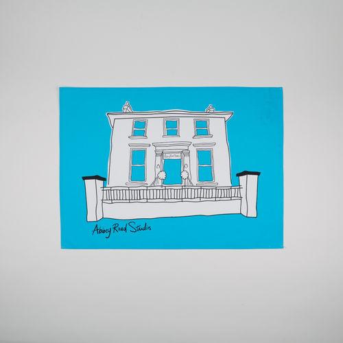 Abbey Road Studios: Abbey Road House Tea Towel Blue