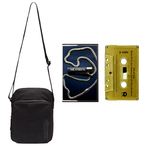 The Streets: None Of Us Are Getting Out Of This Life Alive: Black on Black Satchel + Signed Gold Cassette