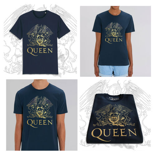 Queen: Gold Crest On French Blue Unisex T-Shirt