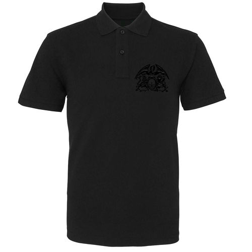 Queen: Black On Black Crest Embroidered Polo Shirt