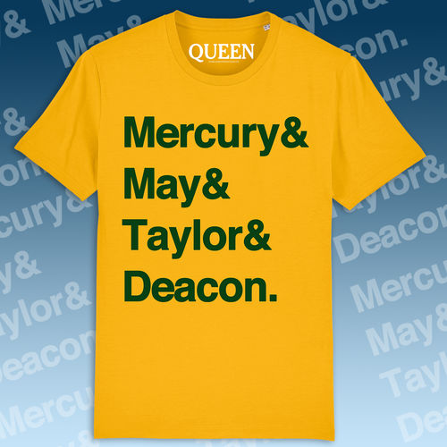 Queen: Names T-Shirt Yellow