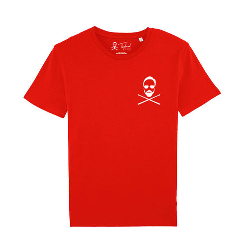 Roger Taylor: 'Taylored' Left Chest Print T-Shirt Red
