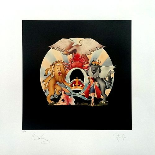 Queen: Impresión en papel artístico de A Day At The Races firmada por Brian May y Roger Taylor