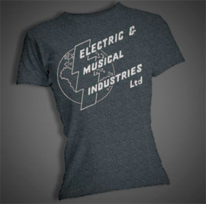 Electrospective: Electric And Musical Industries Logo (Original EMI Logo) Womens Charcoal T-Shirt