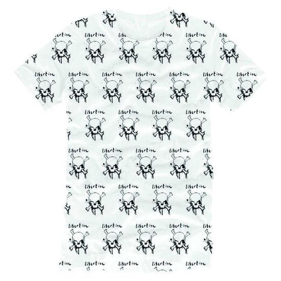 The Libertines: The Libertines Sublimitated Skull White T-Shirt - Small