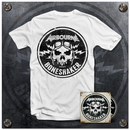 Airbourne: White T-Shirt & Boneshaker Deluxe CD (+ 3 Bonus Live Tracks)
