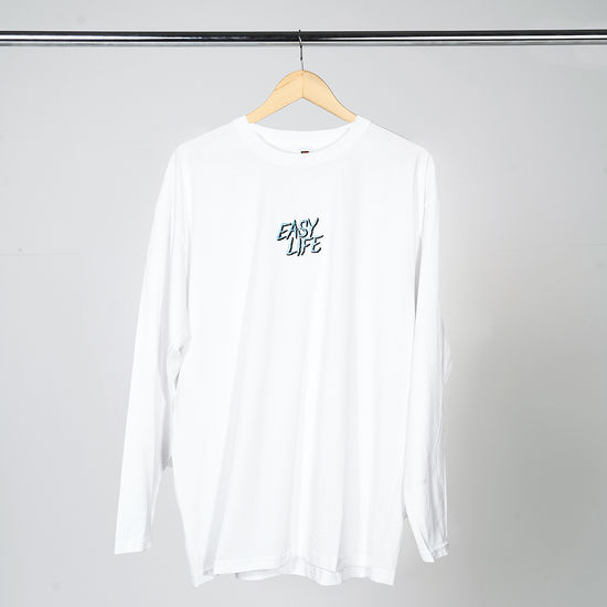 Easy Life: Light Blue Logo White Long Sleeve T-Shirt