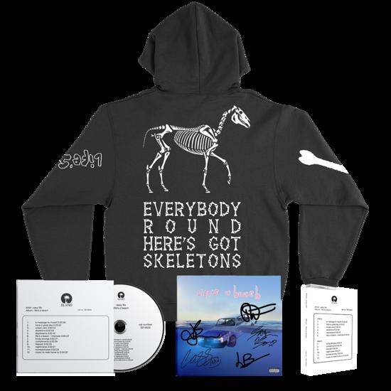 Easy Life: life's a beach: rare skeletons hoodie bundle + signed artcard