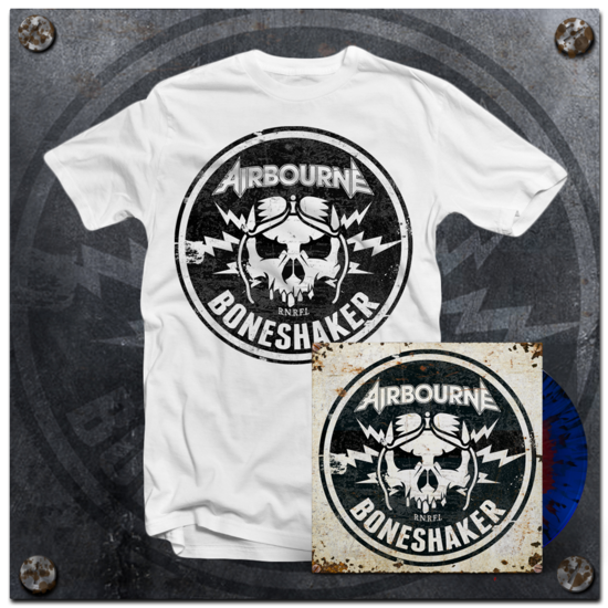 Airbourne: White T-Shirt & Boneshaker Blood In The Water Vinyl