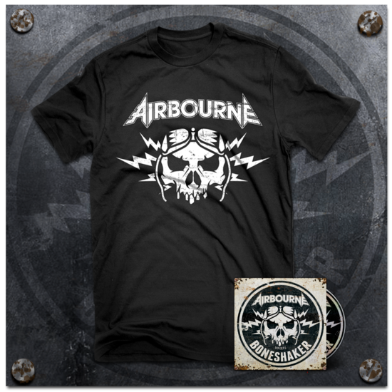 Airbourne: Black T-Shirt & Boneshaker Deluxe CD (+ 3 Bonus Live Tracks)
