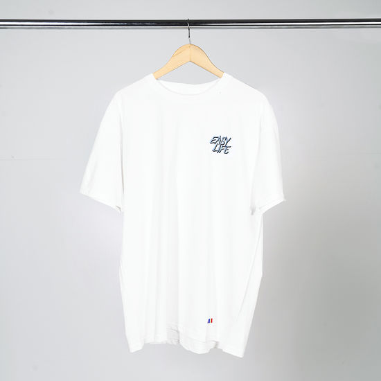 Easy Life: Light Blue Logo White Short Sleeve T-Shirt