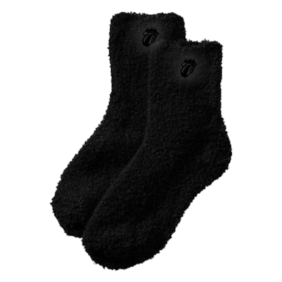 The Rolling Stones: Black on Black Fuzzy Socks