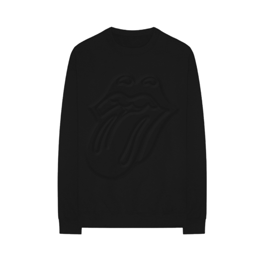 The Rolling Stones: Black on Black Embossed Crewneck