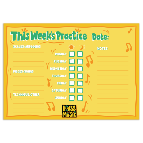 House of Music: Weekly Practice Chart