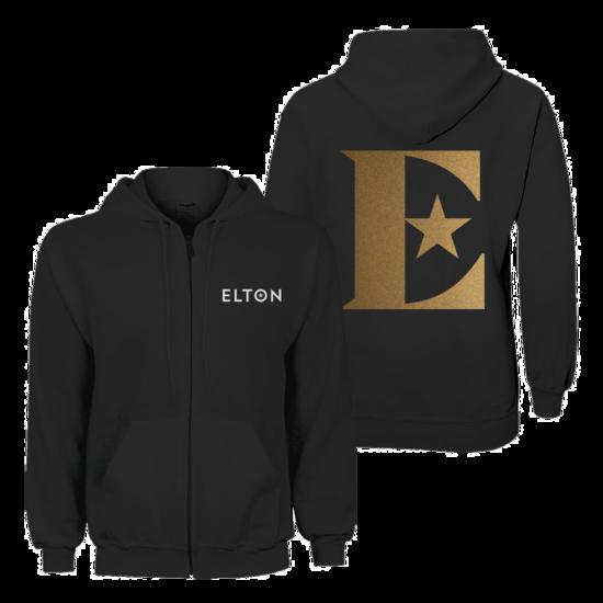 Elton John: Glittered Logo Zip-up Hoodie – Black