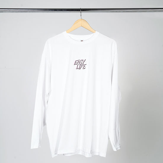 Easy Life: Pink Logo White Long Sleeve T-Shirt