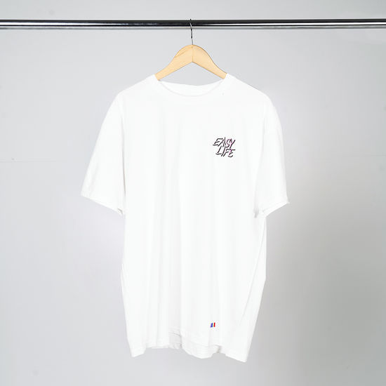 Easy Life: Pink Logo White Short Sleeve T-Shirt