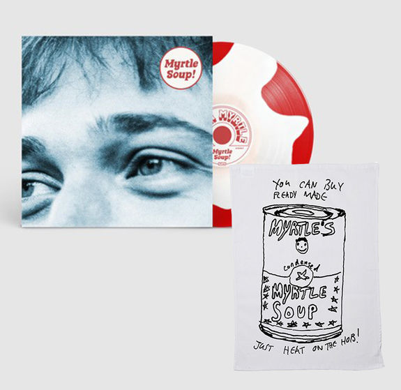 John Myrtle: Myrtle Soup: Signed Recordstore Exclusive Red + White Splodge Vinyl LP, A5 Lyric Booklet + Screen-Print Tea Towel