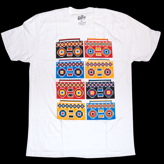 Ubiquity Records: Boombox Pattern Small T-Shirt