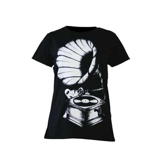 Amy Winehouse: Lioness Gramophone Print Ladies Skinny Fit T-Shirt
