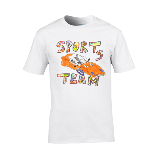 Sports Team: Race Car Tee: White