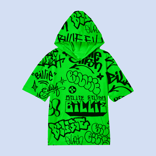 Billie Eilish: Billie Eilish x FreakCity Green Graffiti Hoodie