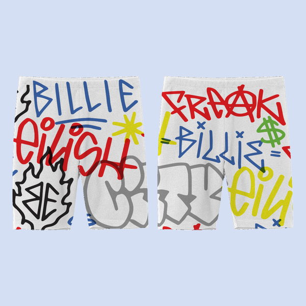 Billie Eilish: Billie Eilish x FreakCity Graffiti Shorts Cycling Shorts