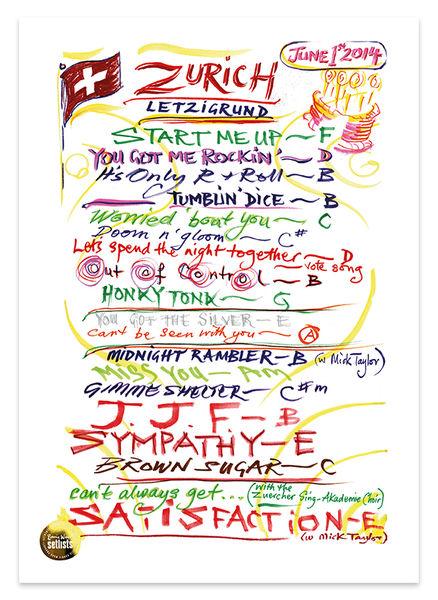 Ronnie Wood: Show 10, Letzigrund, Zurich Switzerland 1 June 2014 Lithograph