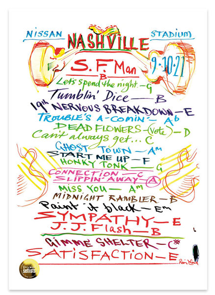 Ronnie Wood: Show 21, Nissan Stadium, Nashville, 9 October 2021 Lithograph